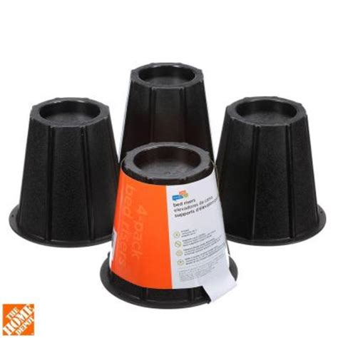 home depot bed risers honey can do 6 in h x 6 5 in l x 6 5 in w black round