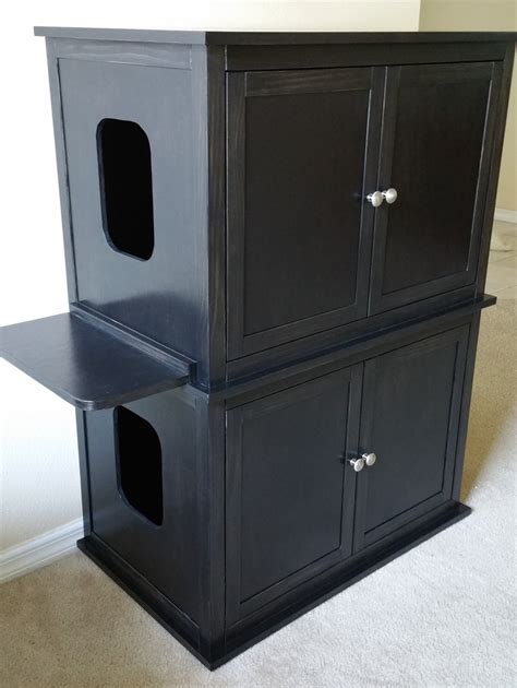 cat litter box cabinet stacked double hand made in usa wood cat litter box