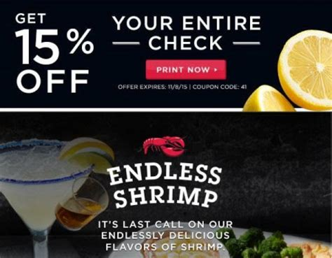 printable restaurant coupons winnipeg red lobster get 15 off your entire check coupon oct 27