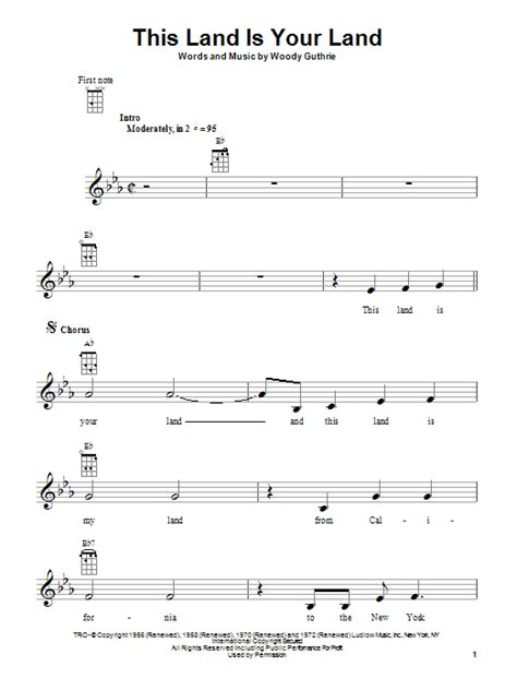 printable lyrics this land is your land this land is your land sheet music direct