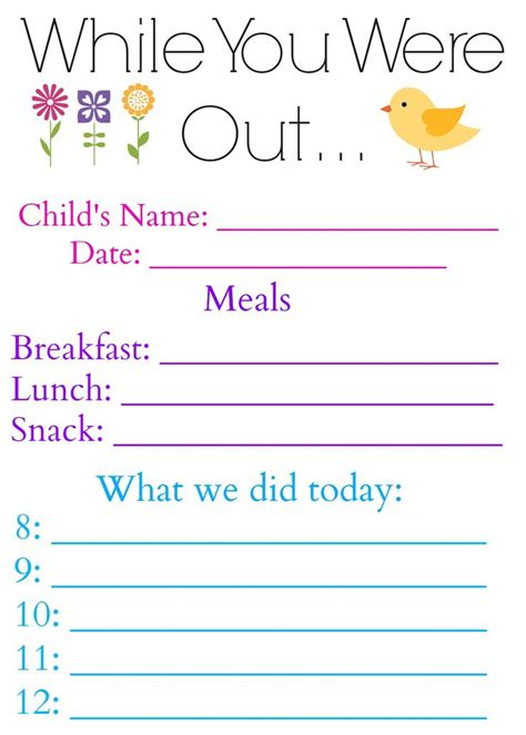 nanny log sheet templates while you were out daily log form for or nanny