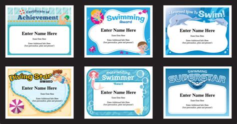 swimming certificate templates fun swim awards  divers swimmers