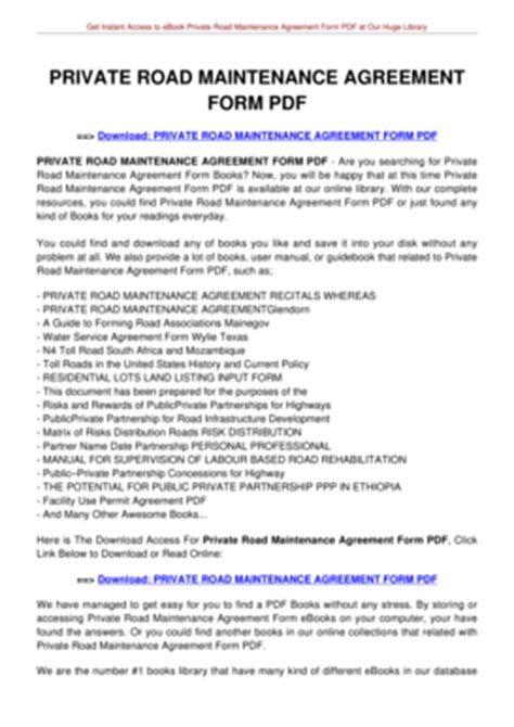 Fillable Online Private Road Maintenance Agreement Form Pdf Tolianbiz Home Fax Email Print Road Maintenance Agreement Template
