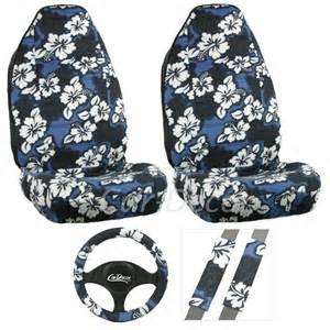 Seat Covers Hawaii Blue Hawaiian Flower Car Seat Cover Set