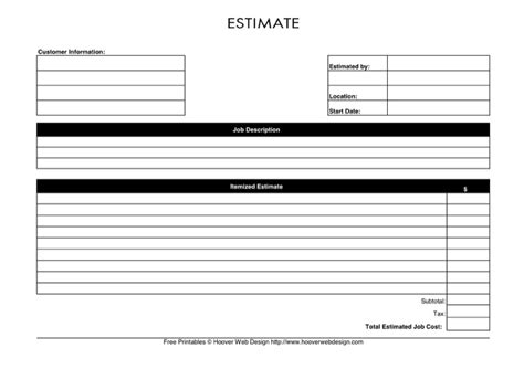 blank estimate form template blank estimate template free