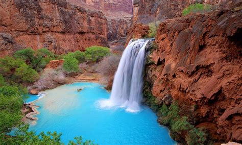 grand canyon arizona usa havasu falls blue green waters desktop hd wallpaper  mobile phones