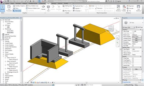Basic Floor Plan modeling a bridge in revit structure for the use with rib