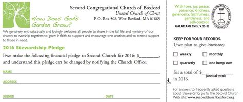 church finacial pledge cards template second congregational church of boxford 187 stewardship