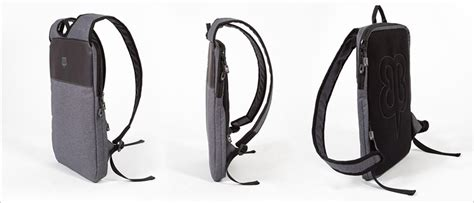 this thin laptop backpack is designed to be worn a jacket contemporist