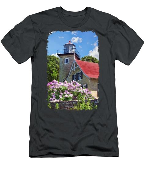 T Shirt Door County Door County Eagle Bluff Lighthouse Lilacs T Shirt For Sale