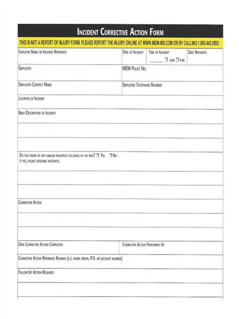 corrective report template form corrective report template incident corrective