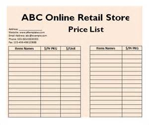 Wholesale Price Sheet Template by Sle Price List Template 5 Documents In Pdf