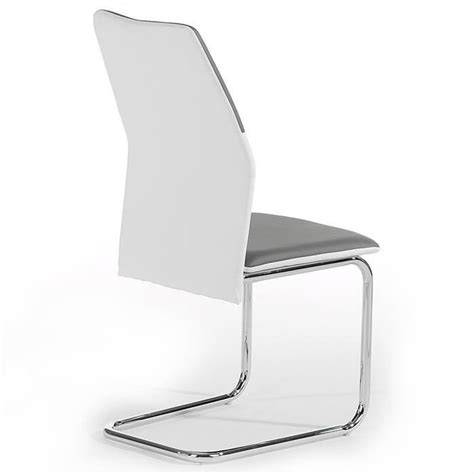 Lot De 4 Chaise lot de 4 chaises leona pu blanc gris achat vente chaise