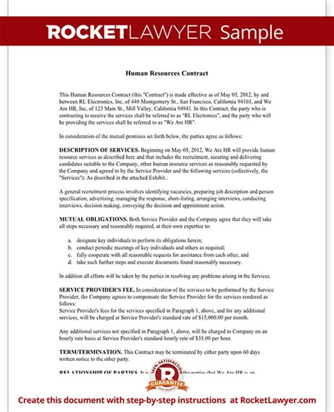 Human Resources Contract Hr Contract Agreement Form With Sle Human Resources Forms And Templates