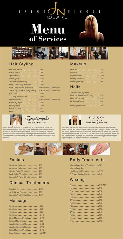 spa menu of services template jaime salon and spa menu of services