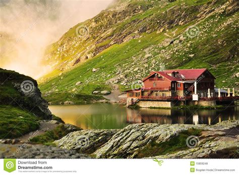 home in the mountains dream lake house in the mountains royalty free stock