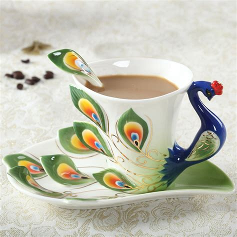 Peacock Coffee peacock coffee cup ceramic creative mug bone china 3d