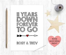 11th wedding anniversary card 11th anniversary card 11 years