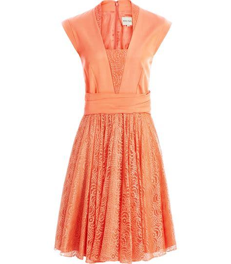 Apricot Orange Dress Korean Style Dress reiss vneck flared skirt dress in orange apricot lyst