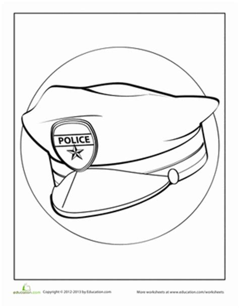 policeman hat coloring page make a paper doll police officer worksheet education com