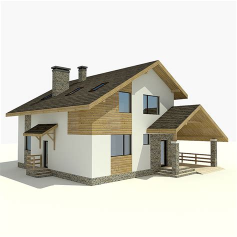 3d house 3d model house village mountains