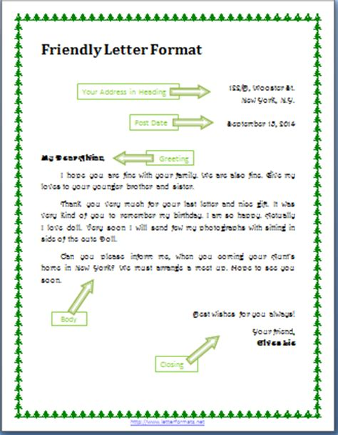 friendly letter format personal letter format gplusnick
