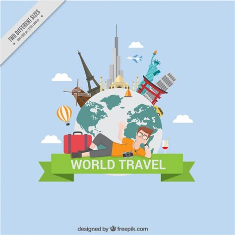 Traveling Around The World traveling around the world background vector premium
