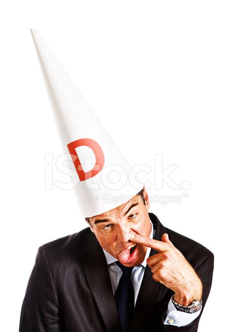 How To Make A Dunce Hat Out Of Paper - businessman in dunce cap makes stupid work is