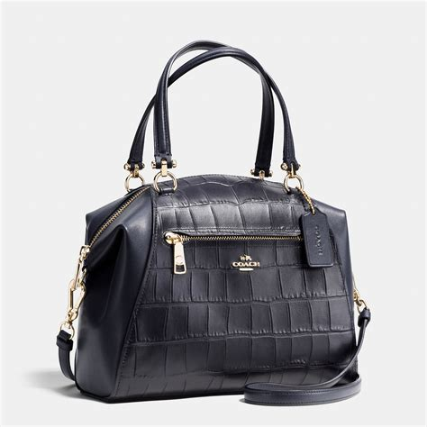 Coach Emboss lyst coach prairie satchel in croc embossed leather in black