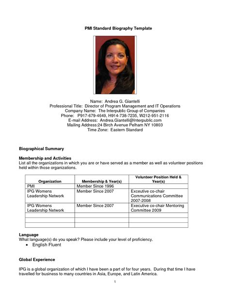 resume bio template best photos of professional biography template exles