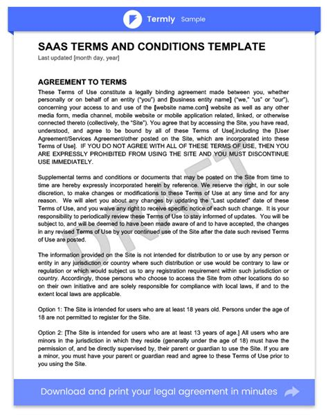 saas terms and conditions template choice image