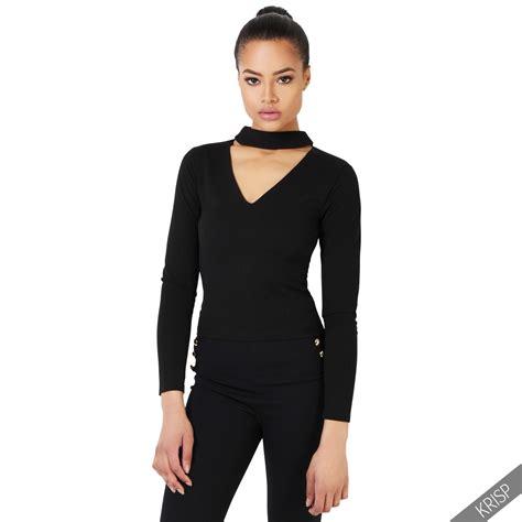 Chocker Slice Top womens stretch v neck cut choker plunge top zip back fitted shirt ebay