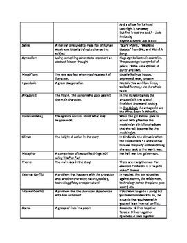Literary Terms Worksheet