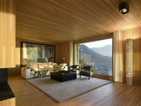 wooden interior hillside home is wood frame construction with concrete