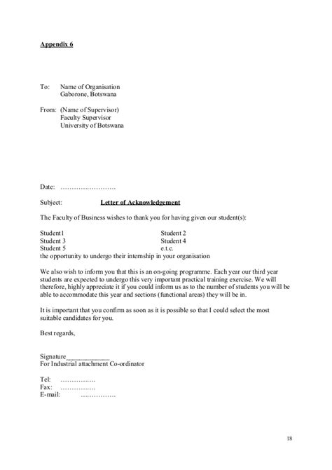 Acknowledgement Letter Internship Internship Manual Reviewed