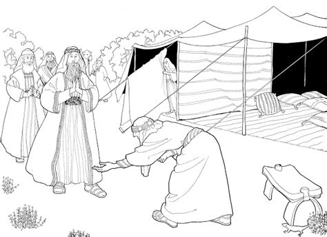 angels visit abraham coloring page make a joyful color abraham greets his heavenly visitors