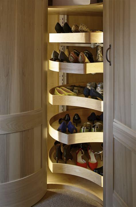 wardrobe shoe storage a shoe carousel in a corner unit in a walk in wardrobe