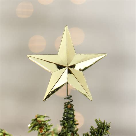 miniature metallic gold star tree topper christmas