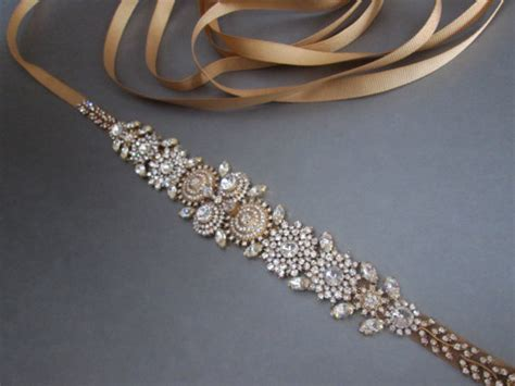 gold beaded belt bridal belt sash gold bridal belt rhinestone
