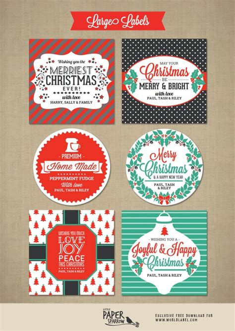 merry christmas labels   paper sparrow worldlabel blog