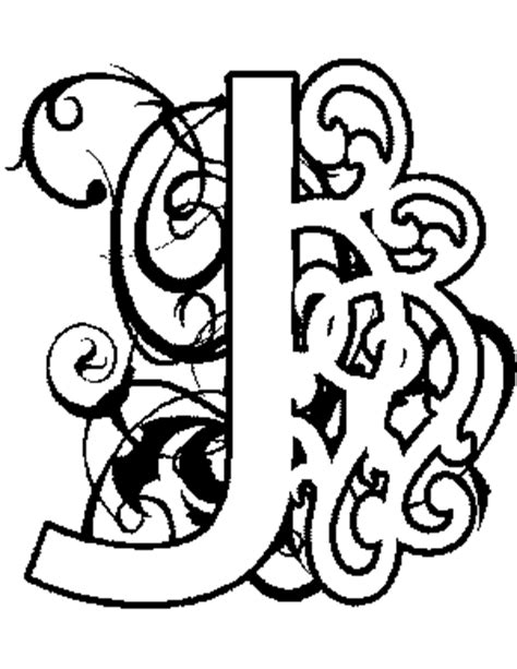 illuminated j coloring page