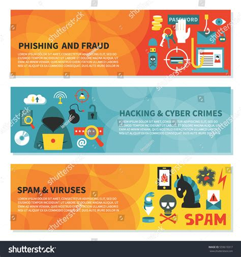 Hacking Cyber Crime Horizontal Vector Banner Stock Vector 559619317 Shutterstock Hackers Website Template