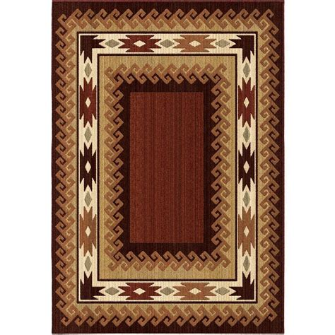 lodge rug orian rugs glenwood burnt lodge 6 ft 7 in x 9 ft 8 in indoor area rug 351934 the home