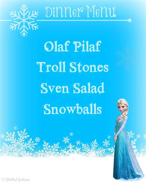 printable frozen menu frozen party family dinner movie night printables