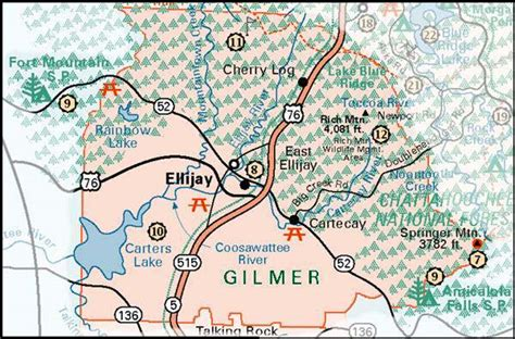 where is ellijay on the map map of fannin county and the cities of ellijay east