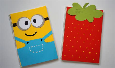 notebook cover design handmade diy notebook covers minions strawberry back to school