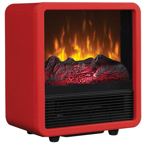 plug in fireplace heater twin star 400 sq ft compact cube electric stove red cfs