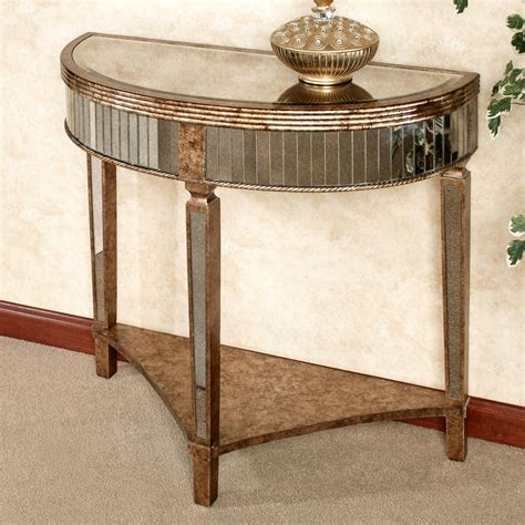 mina antiqued mirrored console table