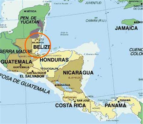 map of belize central america where is belize located map showing belize