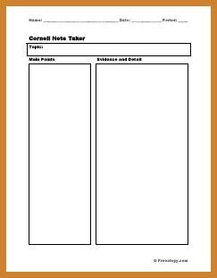 two column notes template notary letter
